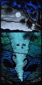 Moonlit swans, the completed stained glass windows.
